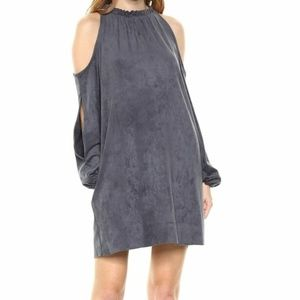 Kensie Faux-Suede Cold Shoulder Shift Dress | XL
